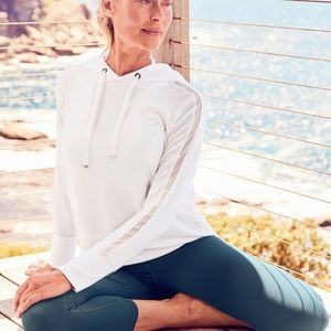 Athleta White Open Hearted Pullover Hoodie